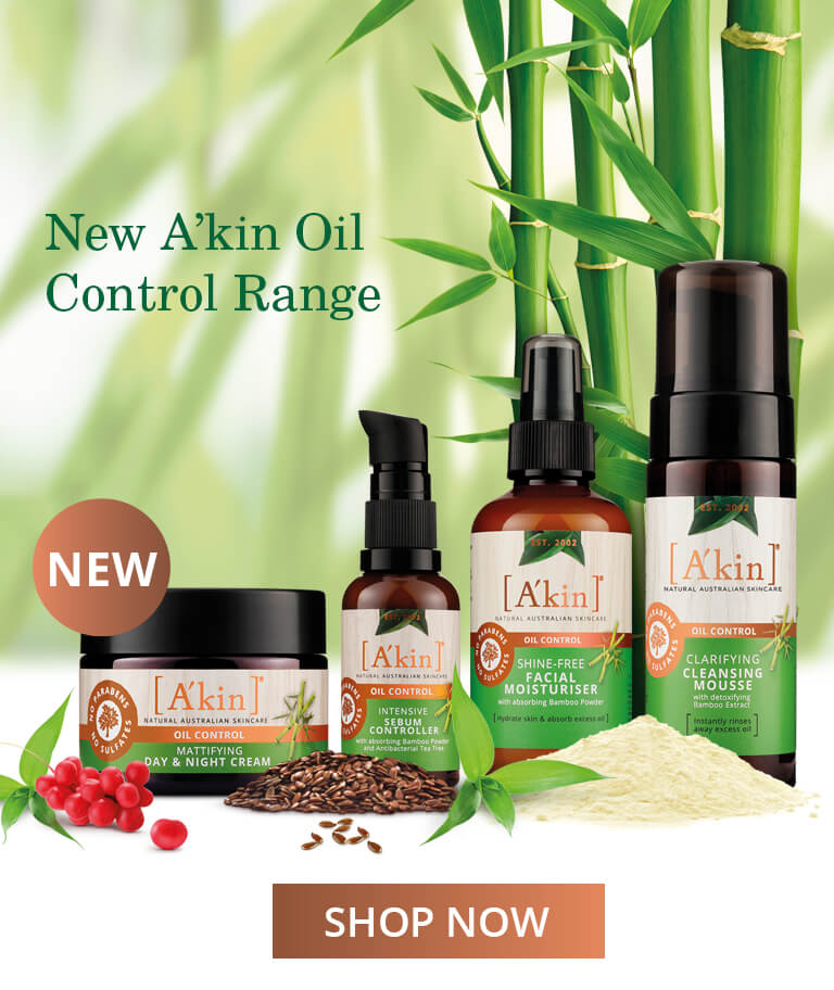 New A'kin Oil Control Range. Discover a natural way to manage oily skin that's prone to shine.