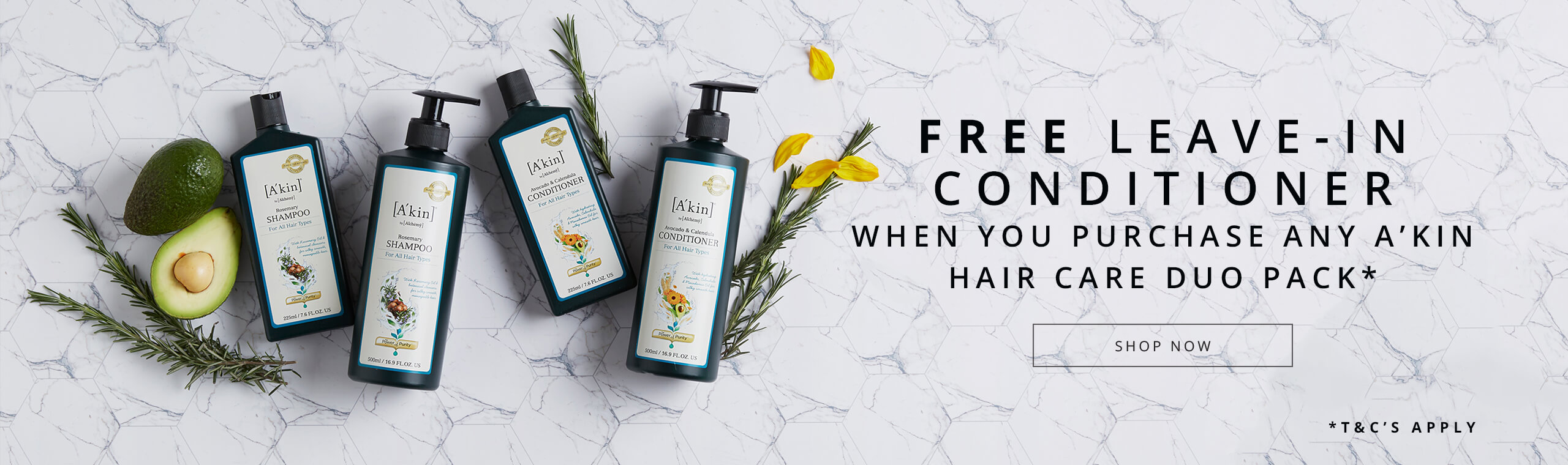Free Leave-In Conditioner when you purchase any A'kin hair care duo pack
