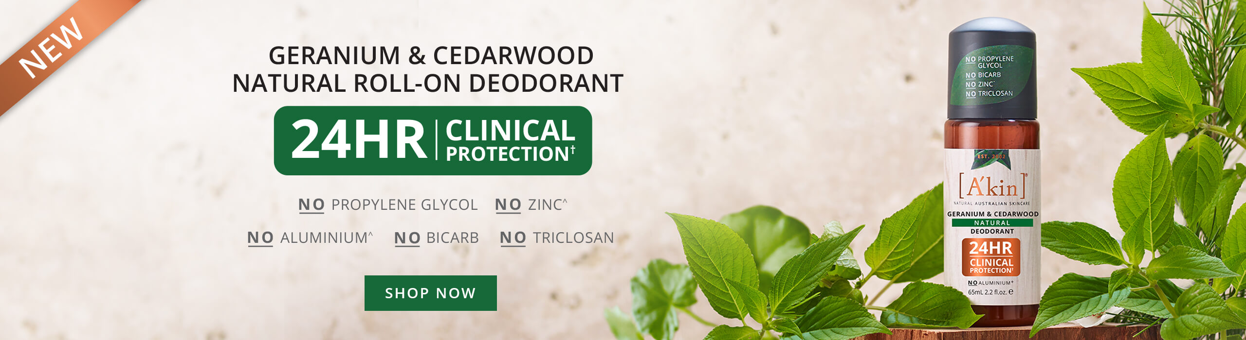 Geranium & Cedarwood Natural Roll-On Deodorant. 24 Hour Clinical Protection. No Propylene Glycol. No Zinc. No Aluminium. No Bicarb. No Triclosan.
