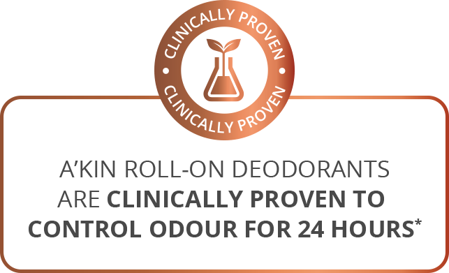 A'kin roll-on deodorants are clinically proven to control odour for 24 hours*